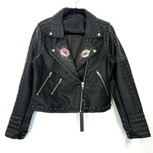 BLANKNYC Black Studded Floral Faux Leather Jacket
